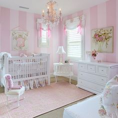 Pinspiration - 125 Chic-Unique Baby Nursery Designs - Style Estate - For a girl Baby Bedroom, Nursery Room, Girl Nursery, Girls Bedroom, Nursery Decor, Nursery Ideas, Bedrooms, Baby Rooms, Room Ideas