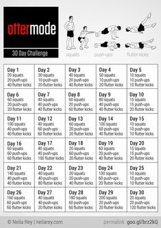Ottermode 30 day challenge (squats, push-ups, and flutter kicks).My FREE 30 Day Challenge group starts soon, send me a friend request on FB (Andrea Cordova Huffmon) if you would like to join. Reto Fitness, Fitness Herausforderungen, Fitness Motivation, Fit Girl Motivation, Health Fitness, Fitness Band, Planet Fitness, Fitness Quotes, Fitness Tracker