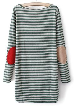 Green Striped Irregular Round Neck Cotton Blend Sweater