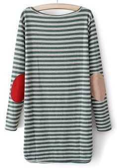Green Striped Irregular Round Neck Cotton Blend Sweater