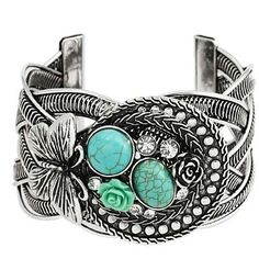 Cuff Bracelet with Turquoise Rose and Butterfly Design