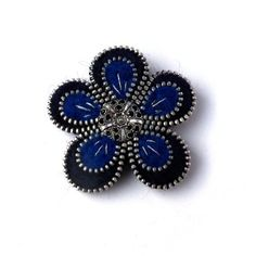 Aneta Kulesza. Spring Flower Zipper brooch, Blue and Navy Blue felted brooch with button, Handmade Jewelry via Etsy