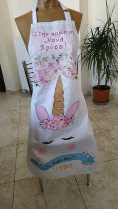 podia vaftisis monokeros Handmade Shop, Apron, Hand Painted, Club, Shopping, Shirts, Decor, Accessories, Pinafore Apron