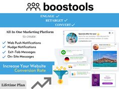 Turn Your Visitors Into Leads and Sales With Boostools: The All-In-One Platform To Engage, Retarget Convert The Website Visitors Business Marketing, Online Business, Web Push Notifications, Browser Chrome, Social Proof, Growth Hacking, Competitor Analysis, Lead Generation