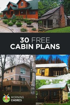 If you want to build a big or small cabin, start here. We have over 30 free DIY cabin plans in any size and style: log cabin, a-frame, cottage, etc. Log Cabin House Plans, Log Home Floor Plans, Log Cabin Homes, Tiny House Plans, Log Cabins, Cabin Kits, Ideas De Cabina, Patio Roof Covers, How To Build A Log Cabin
