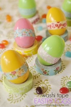 Turn a regular old plastic Easter egg into a pretty egg using Washi eggs