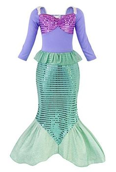 Filare Girls Sequins Little Mermaid Costume Dress Party Fancy Dress Up Long Sleeve 56 Years >>> Click photo to examine even more details. (This is an affiliate link). Little Girl Mermaid Costume, Mermaid Tail Costume, Little Mermaid Dresses, Mermaid Outfit, Little Girl Dresses, Mermaid Tails, Little Girl Costumes, Party Dress Outfits, Sequin Party Dress