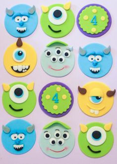 Fondant Monsters inc alien cupcake toppers Fondant Cupcakes, Fondant Toppers, Fun Cupcakes, Cupcake Cakes, Monster Inc Cakes, Monster Cupcakes, Monster Inc Party, Monster Birthday Parties, Deco Cupcake