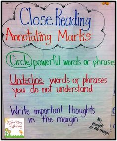 Annotation 101 21 Cool Anchor Charts To Teach Close-Reading Skills 5th Grade Reading, Middle School Reading, Student Reading, Teaching Reading, Guided Reading, Teaching Tools, Student Work, Teaching Ideas, Teaching Methods