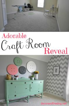 Adorable Craft Room Reveal.  Super cute details like a chevron wall and button wall art!  Love the antique buffet!