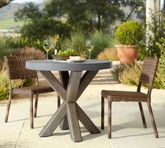 Perfect Pair: Abbott Concrete Brown Round Dining Table + Huntington All-Weather Wicker Chair Patio Dining, Patio Table, Dining Table Chairs, Round Dining Table, Dining Set, Outdoor Dining, Concrete Furniture, Dining Furniture, Outdoor Furniture