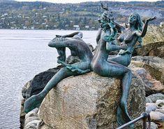 the mermaid ststues in denmark and norway are beautiful! i hope i get to make it to both Mermaids, Drøbak, Oslo Fjord, Norway Mermaid Sculpture, Mermaid Art, Mermaid Statue, Lion Sculpture, Beautiful Norway, Mermaids And Mermen, Stavanger, Under The Sea, The Little Mermaid