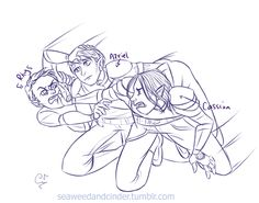 Draw the Squad - Rhys, Azriel and Cassian (I like to think this is just after the cabin scene ;) ) thanks for the base prompt @mugges original base link: http://mugges.tumblr.com/post/140895335313/compilation-of-all-my-draw-the-squads