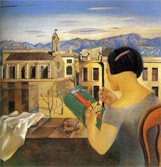 """SALVADOR DALÍ    """"Woman at the Window in Figueras"""" Salvador Felipe Jacinto Dalí i Domènech,[1] marqués de Dalí de Púbol (Figueras, 11 de mayo de 1904 – ibídem, 23 de enero de 1989), fue un pintor, escultor, grabador, escenógrafo y escritor español, considerado uno de los máximos representantes del surrealismo.  Salvador Dalí es conocido por sus impactantes y oníricas imágenes surrealistas. Sus habilidades pictóricas se suelen atribuir a la influencia y admiración por el arte renacentista…"""
