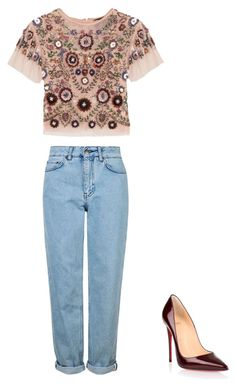 """""""Untitled #168"""" by kduffy-1 on Polyvore featuring Needle & Thread, Topshop and Christian Louboutin"""