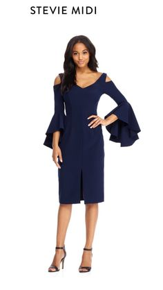 172978c594e96 This fashion-forward dress features a cold shoulder ruffle sleeve and a  v-neckline. It s midi length and neautral navy color makes it appropriate  for work ...