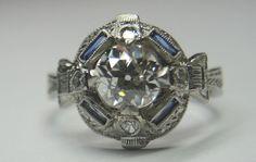 Antique European Diamond Engagement Ring Platinum Ring Size 6 EGL USA Art Deco  #Engagement