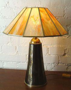 """Künstler Tisch Steh Lampe """"INDIAN  SUMMER"""" Glas+Keramik Unikat einmalig!!!!"""