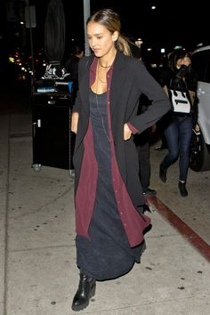 Jessica Alba wearing Related Louisa Shirt Dress and Ash Platform Wedge Chelsea Boots