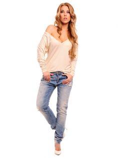 Ženska bluza dugih rukava LEMONIADE - bež