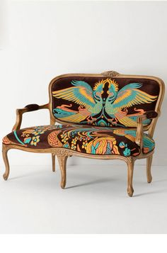 Louisa Settee by Catherine Martin - Anthropologie's Louisa Settee by Catherine Martin features regal birds, intricately embroidered on velvet upholstery. The bold furniture piece crea. Art Nouveau, Art Deco, Settee, Armchair, Blog Art, Best Costume Design, Palette, Vintage Interiors, Cockatoo