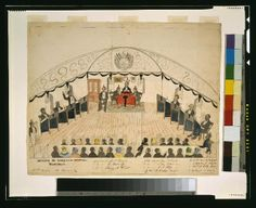 Liberian Senate ca. 1856. Drawing shows an assembly of the Senate of Liberia; members are numbered, includes corresponding key.