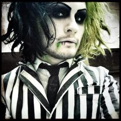 Devin Sola (Ghost) of MIW dressed up as Beetlejuice.