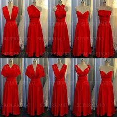 Red Bridesmaids, Elegant Bridesmaid Dresses, Wedding Party Dresses, Red Wedding, Elegant Wedding, Wedding Ideas, Formal Dresses, Lace Evening Dresses, Red Chiffon