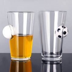 Glass Cup Inlaid Table Tennis Football Creative Style Beer Mug Cup Design, Pint Glass, Whiskey, Tennis, Beer, Football, Mugs, Tableware, Creative