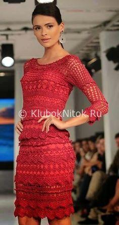 Красное платье   Вязание для женщин   Вязание спицами и крючком. Схемы вязания.