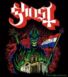 Another Ghost tour shirt design, insane colors! Paraguay 2013. (c) all rights reserved. Concept by Ghost, artwork by M.Frisk death and destruction.