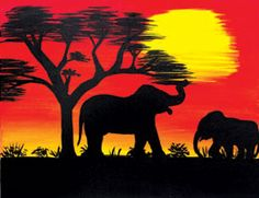 Social Artworking Canvas Painting Design - African Sunset I Canvas Painting Designs, Canvas Designs, Diy Canvas Art, Large Painting, Oil On Canvas, Canvas Board, Painting Art, African Art Paintings, Easy Paintings