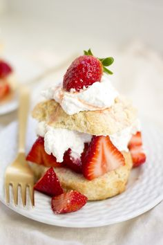 Homemade Strawberry Shortcakes made with fresh whipped cream and sweetened strawberries!