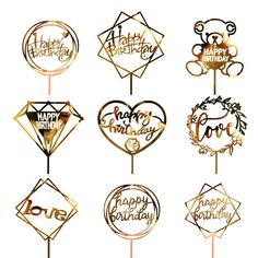 Golden Silvery Flash Cake Topper Party Supplies Acrylic Happy Birthday Cake Topper For Cupcake Birthday Party Decoration Gold Cake Topper, Acrylic Cake Topper, Wedding Cake Toppers, Wedding Cakes, Birthday Tags, Happy Birthday Parties, Birthday Party Decorations, Pink Birthday, Cake Decorations
