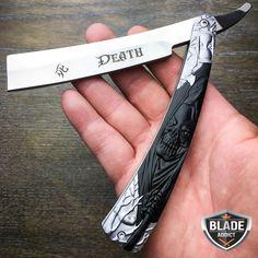 Grim Reaper Straight Blade Barber Razor Folding Pocket Knife Shaving Throat