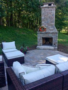"DIY Outdoor Fireplace Kit ""Fremont"" makes hardscaping cheap and easy! Outdoor Fireplace Brick, Outdoor Fireplace Designs, Backyard Fireplace, Backyard Patio, Farmhouse Fireplace, Outdoor Fireplaces, Outdoor Rooms, Outdoor Living, Outdoor Decor"