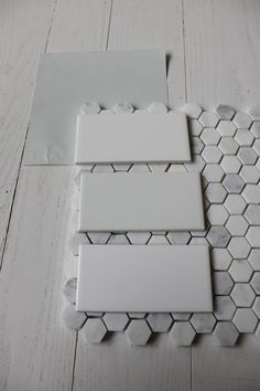 benjamin moore wickham gray with subway tile & hex floor tile