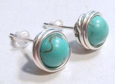 Free DIY: Wire Wrapped  Bead Stud Earrings Tutorial featured in Sova-Enterprises.com Newsletter!