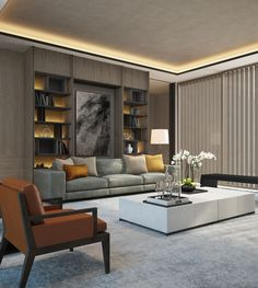 soft neutral living room: grey, stone, taupe white with burnt orange || SCDA Mixed-Use Development Sanya, China- Show Villa (Type 2) Family Lounge