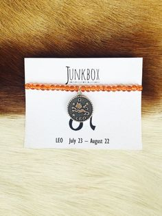 Leo zodiac beaded charm bracelet by JunkboxCouture on Etsy