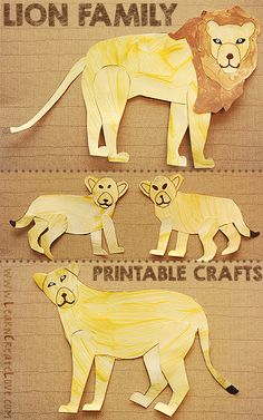 Realistic Lion Printable Crafts | LearnCreateLove.com