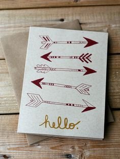 Items similar to Hello - Arrows - Hand Printed Silkscreen Greeting Card / Note Card - Blank Inside on Etsy Diy And Crafts, Paper Crafts, Pi Beta Phi, Sorority Crafts, Scrapbooking, My New Room, Blank Cards, Diy Cards, Paper Goods