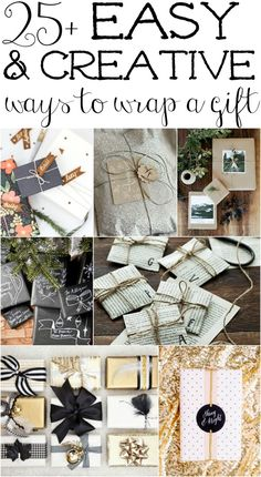 25+ AMAZING & super easy ways to wrap gifts! A must pin & see before wrapping any gifts. Lots of free printables, gift tags, ideas & more!