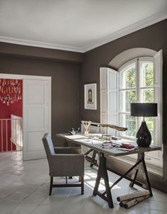 Traditional Home Office with stone tile floors, Casement, Standard height, Crown molding, limestone tile floors ~ THAT DESK AGAIN ~ Farrow And Ball Living Room, Interior And Exterior, Interior Design, Simple Desk, Home Office Design, Office Designs, House Made, Spare Room, Room Paint