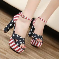 mobile site-Drop shipping 2012 New summer sexy Platforms women shoes high heel American flag styles pumps ladies sandals size 35-39