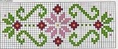Floral border pattern / Micro macrame / alpha friendship bracelet pattern / cross stitch chart - can also be used for crochet, knitting, knotting, beading, wea This Pin was discovered by Rey Folk Art Towels for Kitchen and Bath Charted Designs By Harriett Cross Stitch Borders, Cross Stitch Flowers, Cross Stitch Charts, Cross Stitch Designs, Cross Stitching, Cross Stitch Embroidery, Embroidery Patterns, Hand Embroidery, Cross Stitch Patterns
