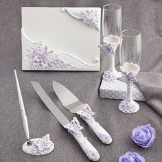 Butterfly Set Guest Book Pen Toasting Flutes Cake Knife Server Lilac Butterflies