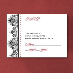 Regal Flourishes - Response Card and Envelope. Available at Persnickety Invitation Studio.