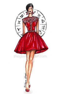 Colors inspiration| Rosso | http://www.theglampepper.com/2014/12/31/color-inspiration-rosso/ Giovanna Sitran fashion illustration, fashion sketch, doodles