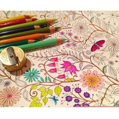 Secret Garden coloring book by Johanna Basford, Image & Coloring by GoldWillow on Flickr.